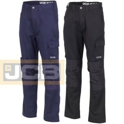 JCB Essential Cargo Combat Men Work Trousers With Knee Pad Pockets Black Navy
