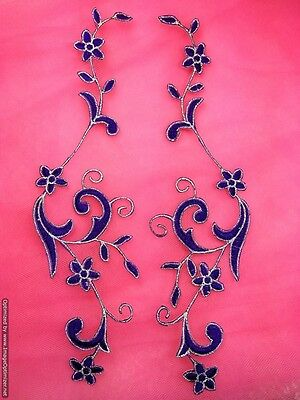 Embroidered Applique Silver Floral Vine Iron on Clothing Patch Motif GB481