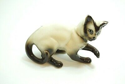 "Vintage Beswick England Siamese Cat Kitten Figurine At Play 6 1/2"" Across"