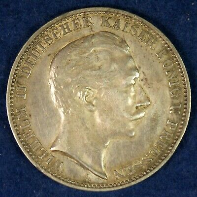 1912 Germany Prussia 3 Marks Silver Coin