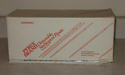 200 PYREX CORNING 7077-1N 1mL 1/100 STERILE DISPOSABLE PLUGGED PIPETS / PIPETTES