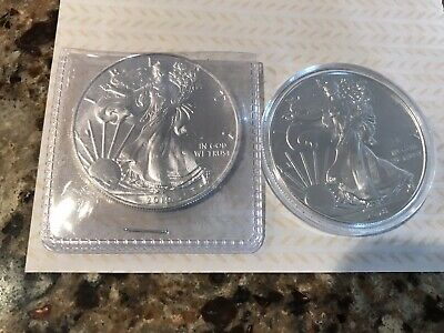 lot of 2 american silver eagle 1 oz coins 2018& 2019 Free Shipping
