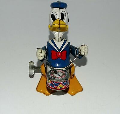 "EX! DISNEY 1950's""DONALD DUCK THE DRUMMER"" LITHOGRAPHED TIN LINEMAR WIND-UP TOY"
