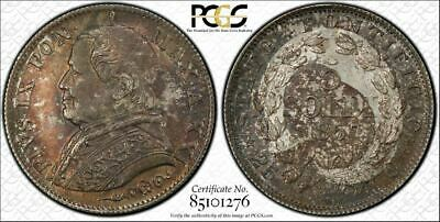 1867-R Papal States 5 Soldi PCGS MS63 Lot#G780 Silver! Choice UNC Example