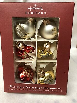 Hallmark Keepsake Miniature Decorative Ornament Set of 6, Blown Glass, 2018