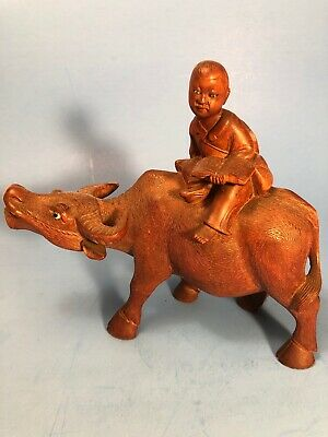 Vtg Chinese Cultural Revolution Carved Wooden Cowboy on Buffalo Statue Figurine