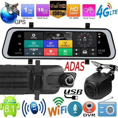 Android 8.1 9.66in 4G Quad Core 1080p GPS Navi Car Rearview Mirror DVR Dash Cam