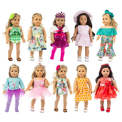 10 Sets Clothes Dress Skirt Jumpsuits Hat For America 18 Inch Girl Doll Outfits