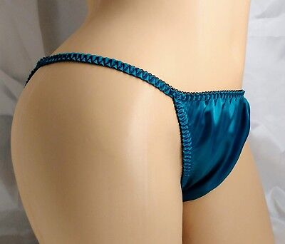 Teal Satin String Bikini panties, classic style for women and men!