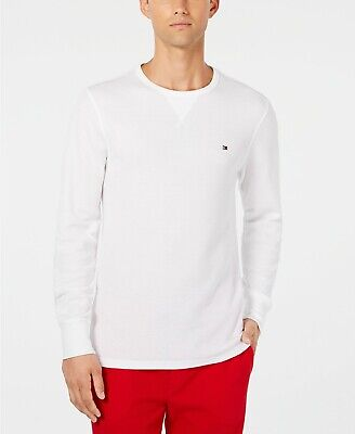 ad3f93b34 Tommy Hilfiger Men's White Waffle Thermal Crew-Neck Long Sleeve T-Shirt