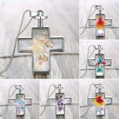 Fashion Natural Real Dried Flower Women Resin Cross Glass Pendant Chain Necklace