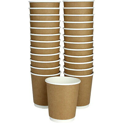 Double Wall Kraft Paper Coffee Cups Pack Of 25 Party Catering 250Ml Supplies