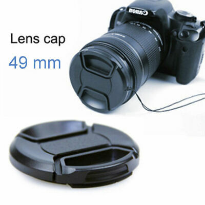 49MM Center Pinch Snap-on Front Lens Cap Hood Cover for Camera with String