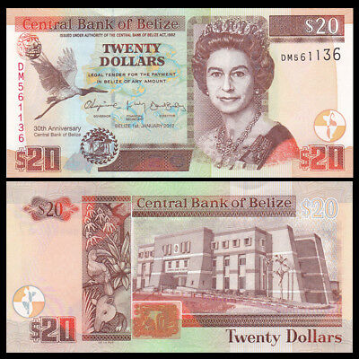 Belize 20 Dollars 2012 Prefix Dm P 72 Commemorative Uncirculated North & Central America Belize