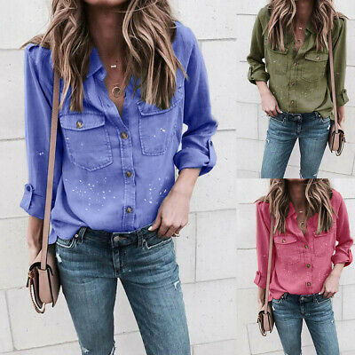 Fashion Women Ladies Casual Long Sleeve Stand Collar Loose Shirt Tops Blouse