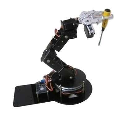 6 Axis Assembled Robotic Clamp Arm Kit w/ Gripper Servo Base For Arduino