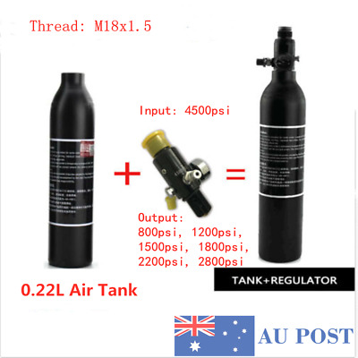 4500psi 0.22L Tank High Compressed Air Bottle Paintball PCP&2800psi Regulator