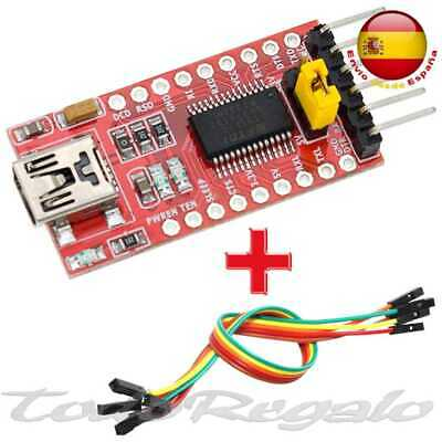 FT232RL FTDI Mini USB a TTL Conversor Serial 3,3 - 5V Arduino Pro + cable Modulo