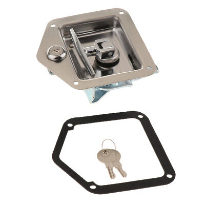 Stainless Steel Truck Toolbox Lock Latch Paddle Handle Trailer Tool w 2 Key