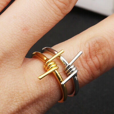 9b2a4c077 Gothic Rocker Barbed Wire Ring Handmade Stacking Ring Couple Jewelry Gift