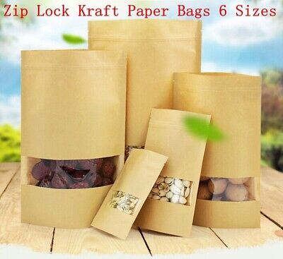 Kraft Bag Window Stand Up Paper Food Resealable Zip Lock Seal Pouch Storage Home
