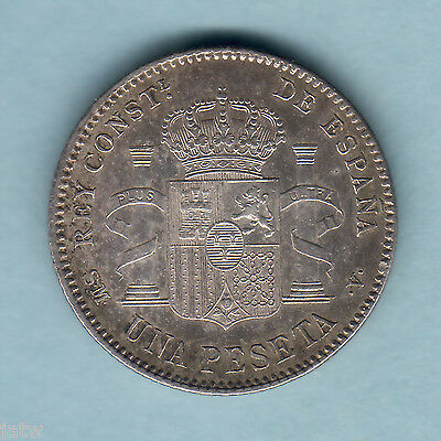 Spain. 1900(01) - SM.V   1 Peseta..  Part Lustre..  aEF/EF