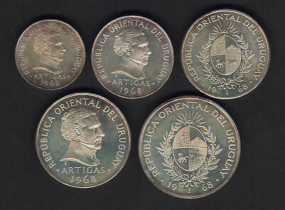 Uruguay. 1968 - 5 piece Pattern Proof Set.. 1,5,10,20 & 50 Pesos