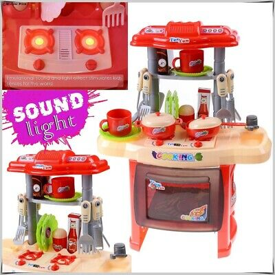 Portable Electronic Children Kids Kitchen Cooking Toy Role Play Set With Sound