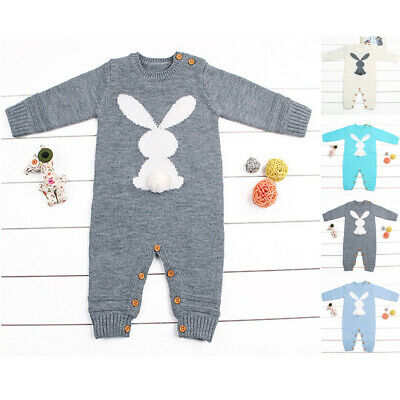 Baby Jumpsuit Boy Winter Knitted Rabbit Romper Outfits Clothes UNISEX Fashion