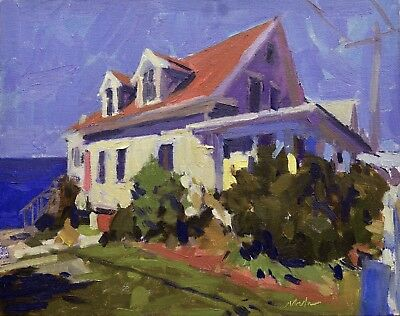 Cottage And Sea Original Oil On Canvas 8x10 Plain Air Cape Cod Painting