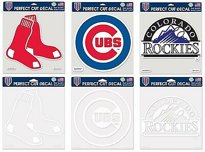 """MLB Assorted Teams """"Logos"""" Wincraft 8"""" x 8"""" Perfect Cut Decals Clear or Color"""