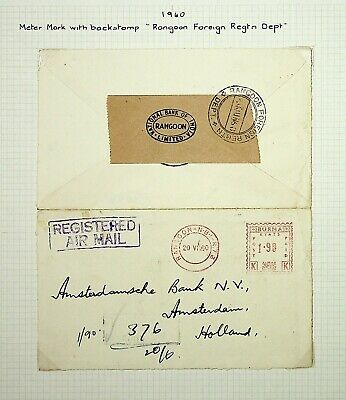 Burma 1960 Rare Meter Mark Registered Airmail Cover To Nederland