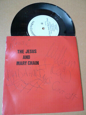 """JESUS & MARY CHAIN Never Understand 7"""" HAND SIGNED BY BAND & BOBBY GILLESPIE '85"""