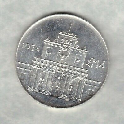 1974 Malta Silver Four Pounds In Near Mint Condition Cottonera Gate