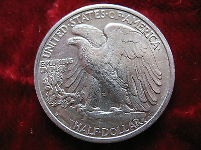 1942-S Walking Liberty Silver Half Dollar, ALMOST UNCIRCULATED! Ungraded Coin.