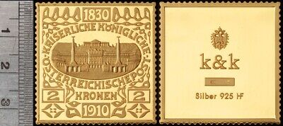Austria: Imperial Post 1830-1910 Proof Gilt Sterling Silver 2 Korona Stamp