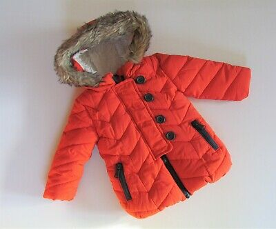 Baby Girls NEXT Padded Fur Lined Orange Coat age 6-9 mths