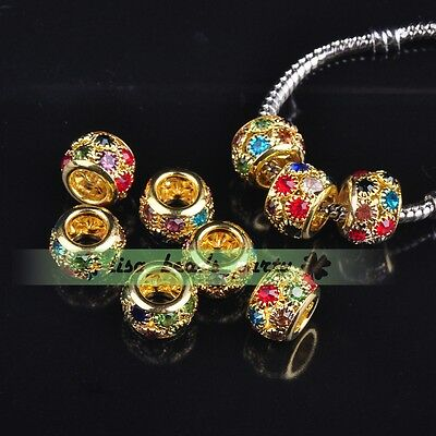 5pcs 11x8mm Round Gold Plated Alloy Rhinestone Glass Loose Beads Mixed Colors