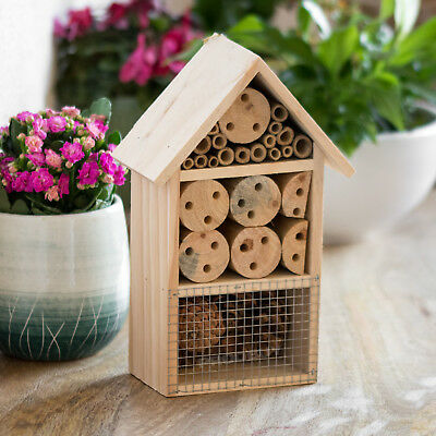 Wooden Insect House Hotel 24cm Wall Mounted Bug Ladybird Nest Box Tree Garden
