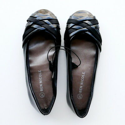 Girls Black Flat Shoes With Patent & Satin Straps By Ben Nicole Size 11, 12