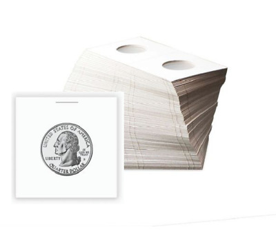 (100) BCW Quarter Paper Flips 2x2 Coin Holders Archival Safe Protection