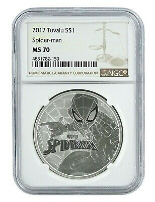 2017 Tuvalu Spider-man 1oz Silver Coin NGC MS70 - Brown Label