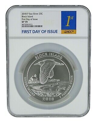 2018 P Block Island National Park 5oz Silver Coin NGC SP70 - First Day Issue