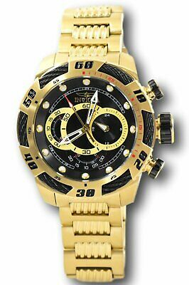 Invicta Speedway Bolt 25484 Men's Black Dial Gold Stainless Chronograph Watch