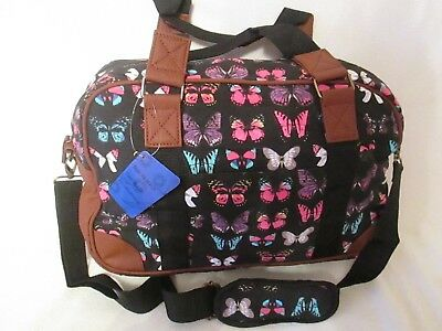 Large Canvas Black Butterfly Design Shoulder Bag travel Bag  holidays flight  Bag ec6eee0eba0fd
