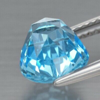 Top! VVS 3.30ct 8mm Round Rose-Cut Natural Sky Blue Topaz, Brazil