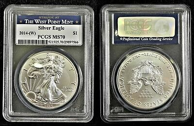 2014 W $1 American Silver Eagle 1 oz Coin WEST POINT MINT PCGS MS 70 NICE