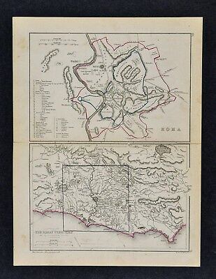 1871 Classical Map - Ancient Rome Plan & Environ - Colosseum Baths Ostia Veii