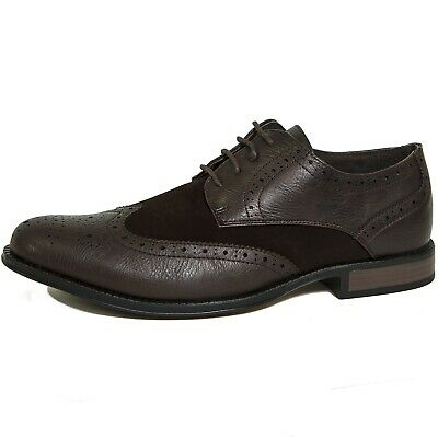 Alpine Swiss Zurich Mens Wing Tip Dress Shoes Two Tone Brogue Lace Up Oxfords