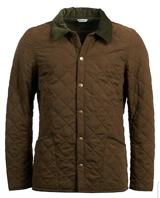 Barbour Men's Dark Sand Brown Bridle Quilted Snap Button Jacket MQU1021